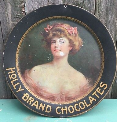 """Antique 19"""" Holly Brand Chocolates Tin Serving Tray Vtg Beautiful Victorian Lady"""