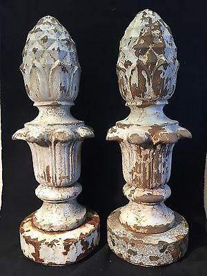 Antique Pair Vtg Cast Iron Pineapple Finial w/ Orig Base Detroit MI Light Pole
