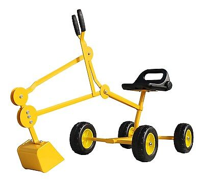 Sandbox Digger Backhoe Toy With Wheels Yellow