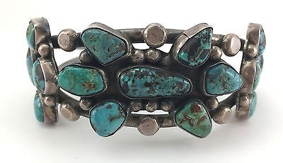 c. 1920 Navajo Turquoise and Silver Bracelet, Size 7
