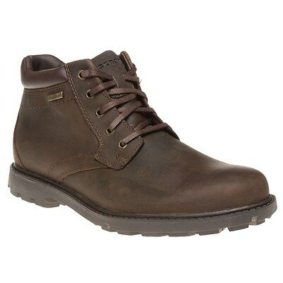 New Mens Rockport Brown Storm 2 Leather Boots Lace Up