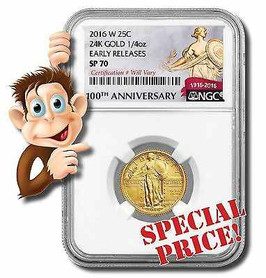 2016-W 1/4 oz. Gold Standing Liberty Quarter Centennial - NGC SP70 Early Release