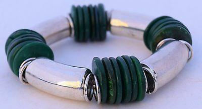 Green Wood Painted Beads Silver Plate over Copper Stetchy Large Heavy Bracelet