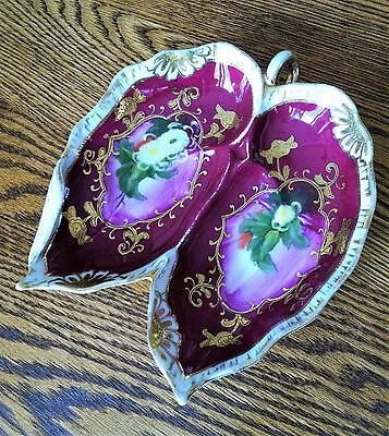 Antique Leaf-Shaped Trinket Dish~Hand Painted~Beautiful Plum, Floral & Gold Gilt