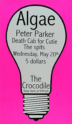 Rare EARLY Death Cab For Cutie 1998 Crocodile Cafe Seattle Washington Poster