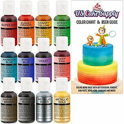 12 Color- By Chefmaster Airbrush Cake Color Set - The 12 Most Supply Food Colori
