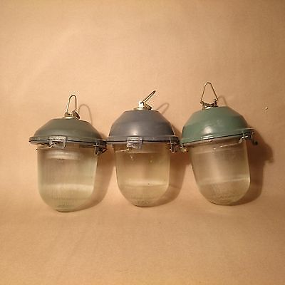 Vintage Old Industrial Factory Bunker Pendant Ceiling Glass Dome Light Lamp