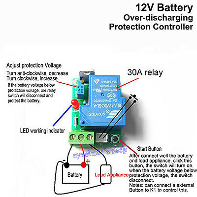 DC 12V 30A Car Battery Excessive Discharge Anti-Over Discharge Protection Module