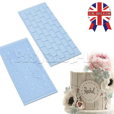 Brick Wall Wood Grain Impression Mat Cake Embosser Fondant Icing Sugar Mould FTS