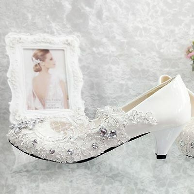 New Lace white ivory crystal Wedding shoes Bridal flats low high heel pump