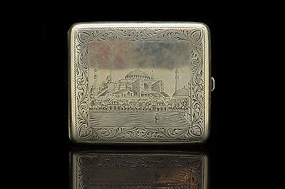 Antique Original Silver Ottoman Hagia Sofi-A Decorated Cigarette Case
