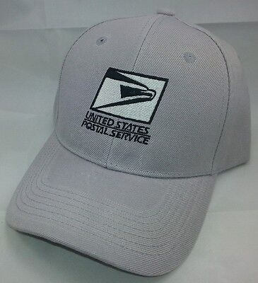 USPS Embroidered Baseball Hat Silver Gray w/Black Embroidery / USPS LOGO1 Cap