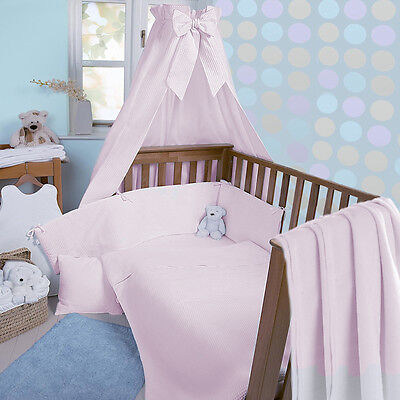 Clair De Lune Pink Waffle 3 Piece Cot / Cot Bed Bedding Set Quilt Bumper Sheet