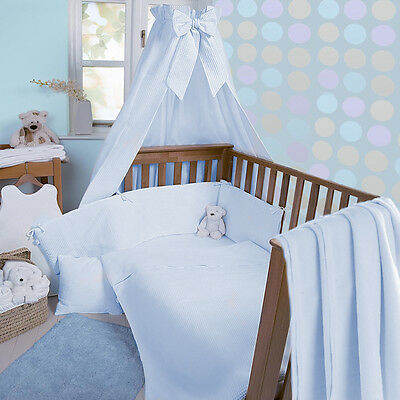 Clair De Lune Blue Waffle 3 Piece Cot / Cot Bed Bedding Set Quilt Bumper Sheet