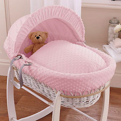 New Clair De Lune Pink Dimple Padded Dark Wicker Baby Moses Basket & Mattress