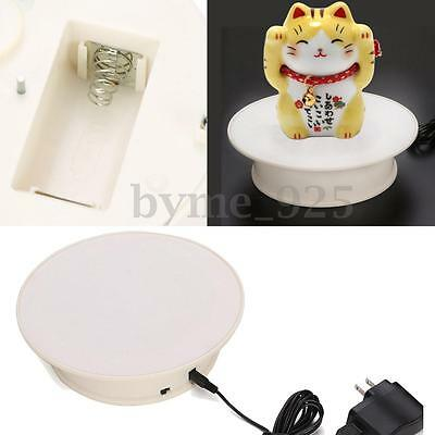 """8"""" Anti-slip White 360° Rotating Turntable Display Stand Power by AC&Battery"""