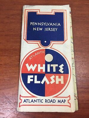 Vintage Atlantic Gas & Oil Collectible White  Flash Advertising PA. NJ. Road Map