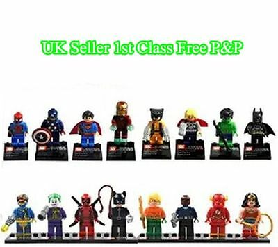 2016 16PC Marvel Avengers DC Super Hero Mini Figure Set Fits Lego FROM UK