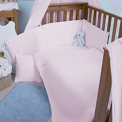 New Clair De Lune Pink Waffle Cot / Cot Bed Quilt & Bumper Girls Bedding Set