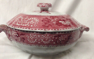 Spode England Camilla Red Round Covered Vegetable Bowl Floral Copeland