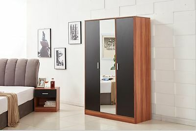 Yakoe Modern Design Bedroom Furniture 3 Door Mirrored Wardrobe Black/Walnut