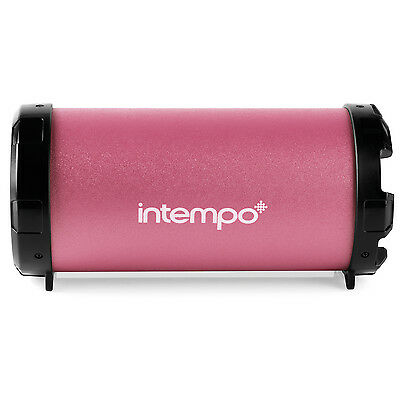 Intempo Rechargeable Large Pink Tube Wired Wireless Bluetooth Portable Speaker
