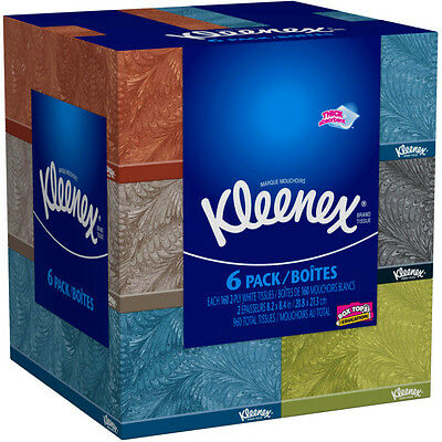 Kleenex Everyday Facial Tissues, 160 Tissues per Flat Box, Pack of 6