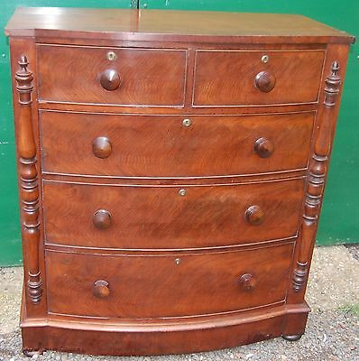 Fine  Antique Mahogany Bow Front Chest Of Drawers • £395.00