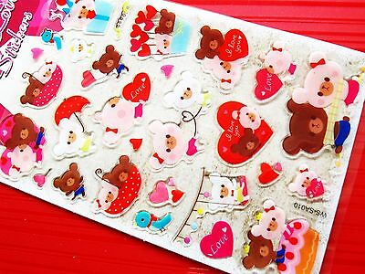 Bears Love Epoxy Stickers Educational Stationery Decoration Seal Party Kids Gift