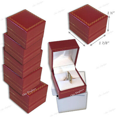 Lot Of (15) High Quality Leatherette Ring Box Red Ring Box Jewelry Gift Box Deal