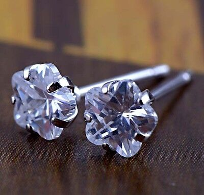 Baby Girls Kids Crystal 14K White Gold Filled Cute Flower Stud Earrings Earings