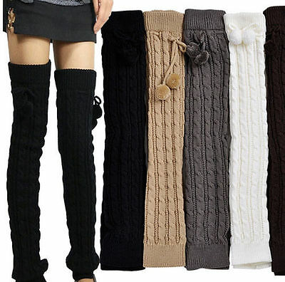 Thick Extra Long Leg Warmer Women Crochet Knit Winter Legging Socks Luxury Warm