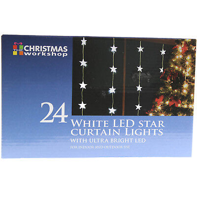 24 White Indoor Outdoor Star Curtain Christmas Xmas Lights With Ultra Bright Led