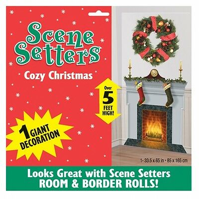 Cosy Christmas Party Fireplace Scene Setter Add On Wall Room Banner Decoration