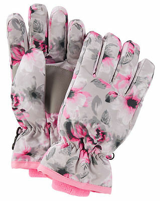 New OshKosh Ski Gloves Winter Glove size 7-14 year Kid Girl NWT Gray Pink Floral