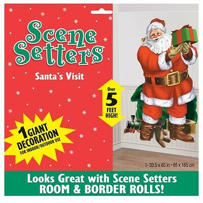 Father Christmas Party Santa Visit Scene Setter Wall Room Banner Decoration