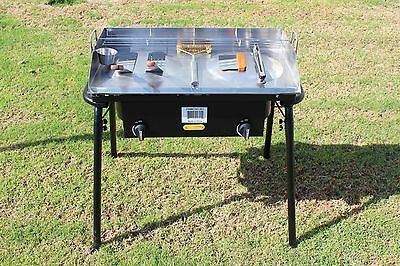 CONCORD 32x17 Stainless Steel Dome Top Griddle w/ Double Burner Stand Camping