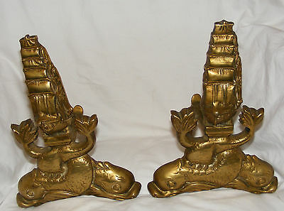 Pair Antique Brass Fire Dogs, Andirons Dolphins & Galleon Ships Arts & Crafts
