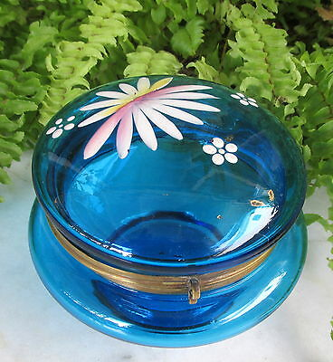 Lovely Victorian Aqua Glass Trinket Jewelry Powder Jar Enameled Flowers