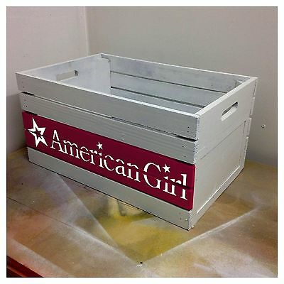 Wooden American Girl Storage Crate Box - Custom Handpainted Stencil Art