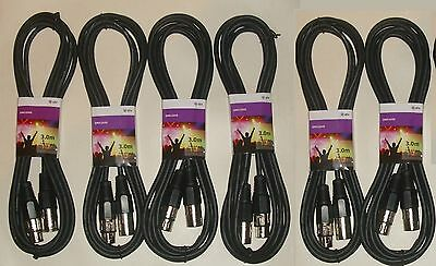 PACK OF 6 DMX Light Effects Cables For DJ Disco Club Stage  FX 3m XLR Leads