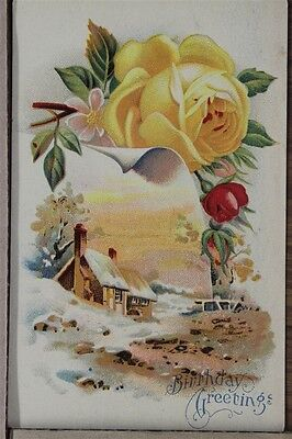 """ANTIQUE 1910's BIRTHDAY POSTCARD """"Yellow Rose & Wintry Home"""" Unposted"""