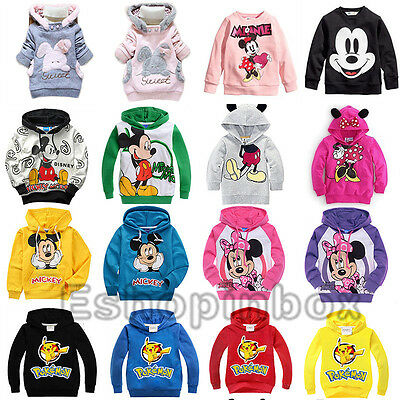 Mickey Minnie Kids Hoodies Sweatshirt Pikachu Boys Girl Hooded Pullover Clothes