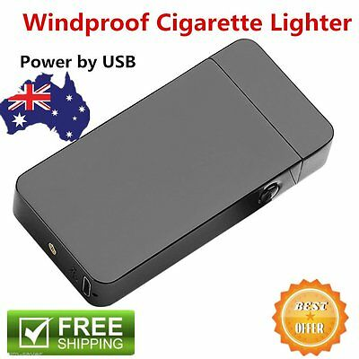 Windproof Electric Lighter USB Rechargeble Dual Arc Metal Flameless Torch Hot MG