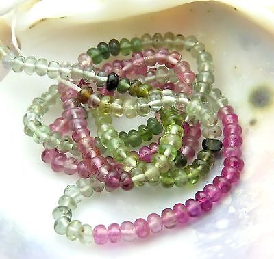 VERY FINE AAAAA BRAZILIAN MULTI COLOR TOURMALINE PETITE BEAD STRAND 18.7cts