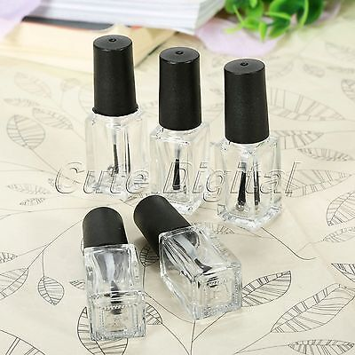 Glass Clear Empty Square Nail Polish Bottle Refillable Containers with Brush Cap