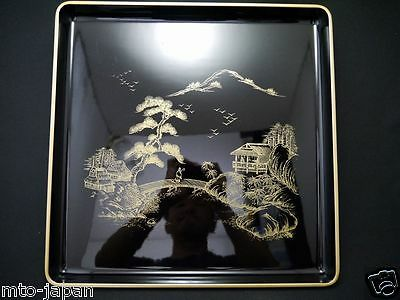 Japanese Lacquer Resin Landscape Makie 14.25 X 14.25 Inched Tray (1215-15)