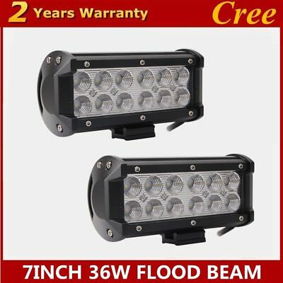 2X 7inch 36W Flood LED Light Bar Work Offroad lamp Tractor Boat UTE CREE  lights