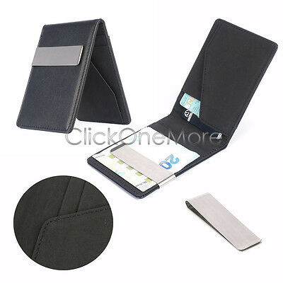 Mens Premium Faux Leather Money Clip Slim Wallets ID Credit Card Holder