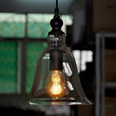 New Vintage Industrial Bell Shade Glass Ceiling Light Hanging Lamp Retro Fitting